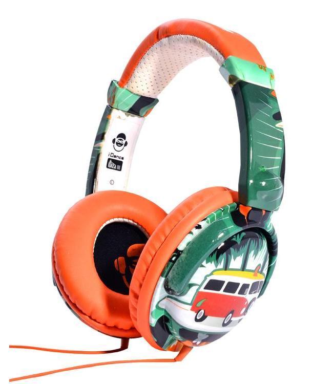 Ibiza 106 orange/surf koptelefoon met een goed geluid en microfoon voor handsfree bellen VW bus t1 beach look