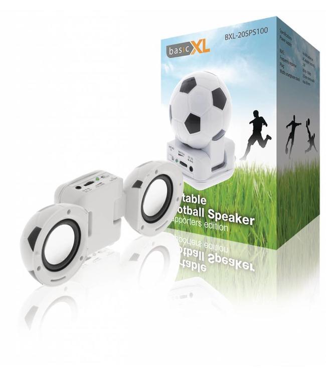BasicXL BXL-20SPS100 Actieve luidsprekers in vorm van voetbal met 3,5 mm plug voor pc, tablet, telefoon