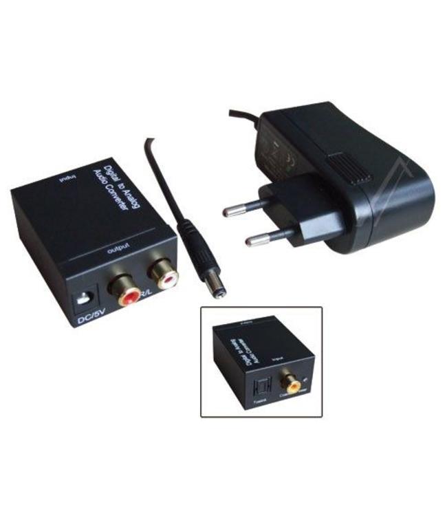 Audio converter digitaal-analoog zet optisch of coaxiaal digitaal audio signaal om naar analoog audio signaal