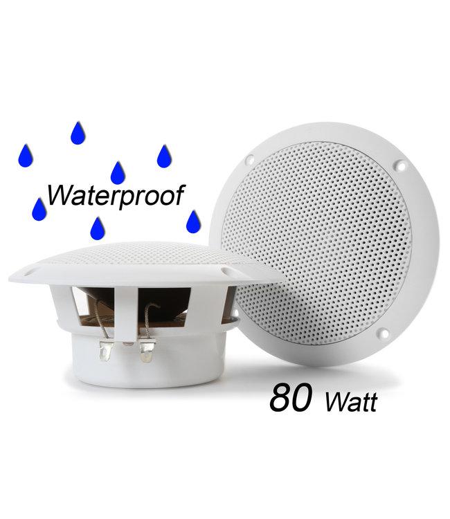 Set Witte inbouw luidsprekers 80 Watt waterbestendige speakers voor plafond, overkapping, terras, badkamer etc.