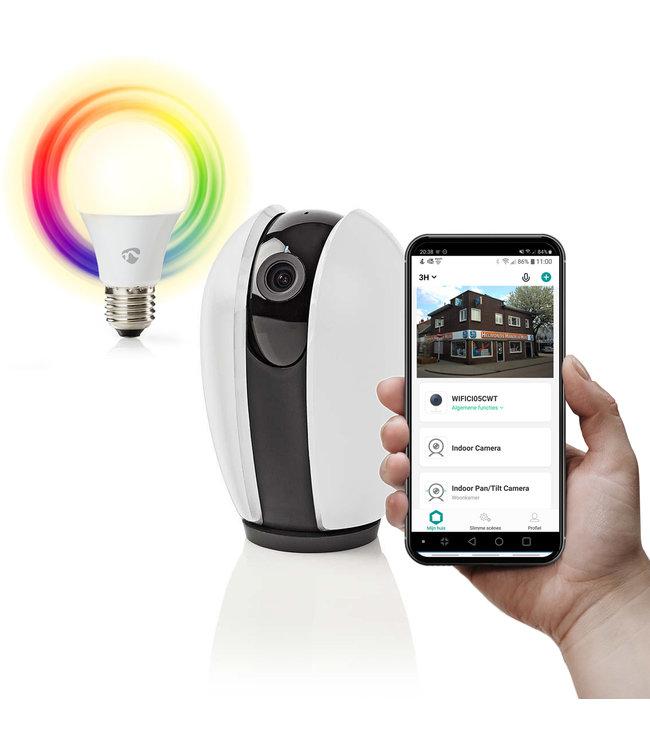 Nedis WIFICI20CGY | Wi-Fi smart IP-camera | Draaien/Kantelen | HD 720p | gratis smart led lamp twv €14,95