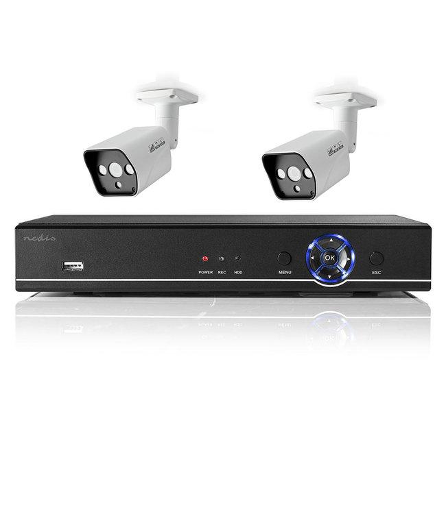 Nedis AHDS204CWT2 netwerk beveiligingscamera-set voor binnen en buiten met 2 camera's