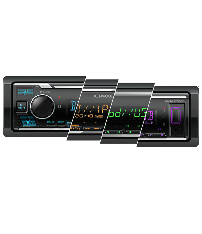 Kenwood KMM-BT306 Autoradio | USB | Bluetooth | iPhone/iPod | 3 Pre-outs | Short Body | Full Color + Gratis Telefoonhouder twv €9,95