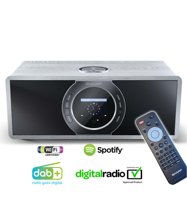Sharp DR-I470 (GR) DAB+ en Internet Digitale Radio met Bluetooth - grijs