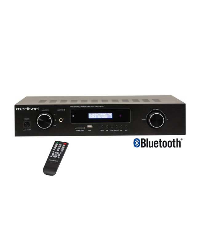 Madison MAD1400BT-BK HiFi 150Watt stereo versterker | FM radio | Bluetooth