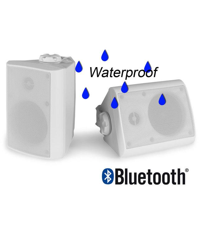 Power Dynamics BGB050 Luidspreker voor onder de overkapping buiten met ophangbeugels | ingebouwde versterker & Bluetooth - wit
