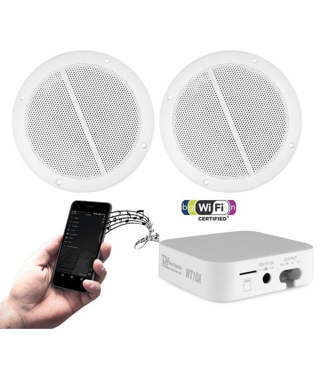 Power Dynamics WT10SET mini versterker met WiFi en 2 inbouw luidsprekers, compleet met kabels