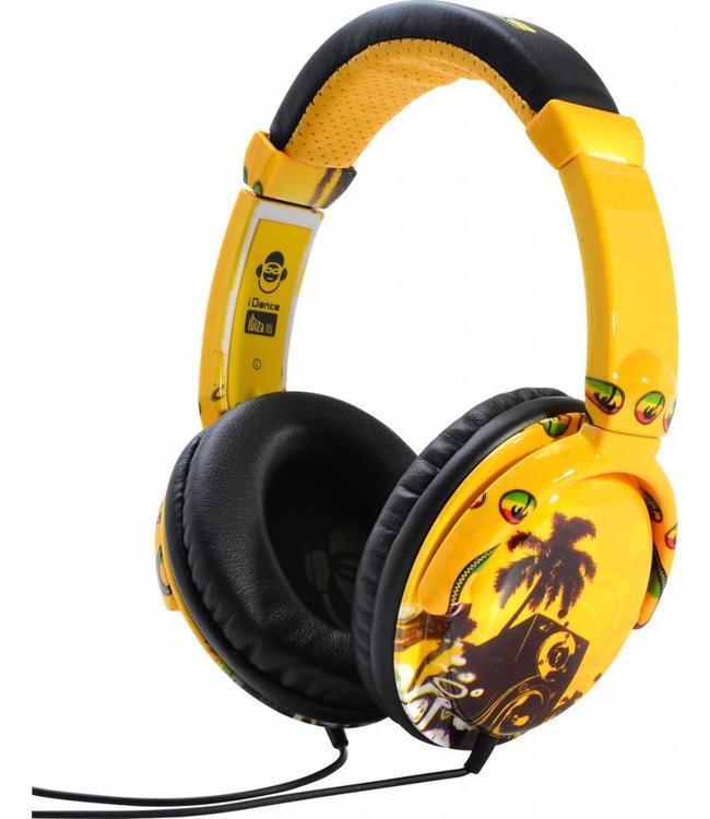 Ibiza 105 gele koptelefoon met een goed geluid en microfoon voor handsfree bellen