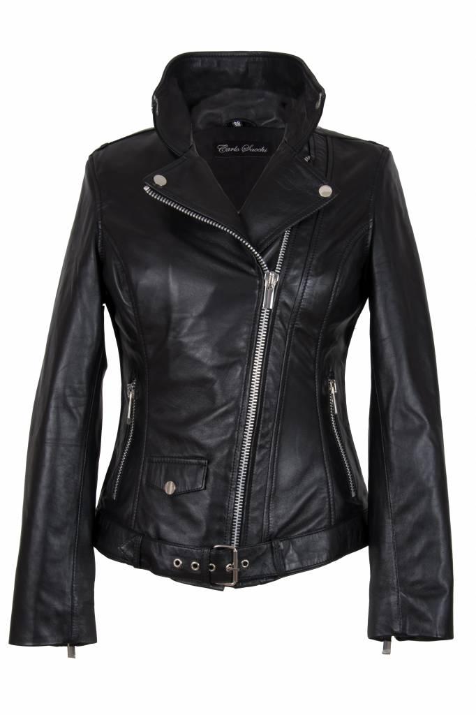 Dames leren jas perfecto zwart