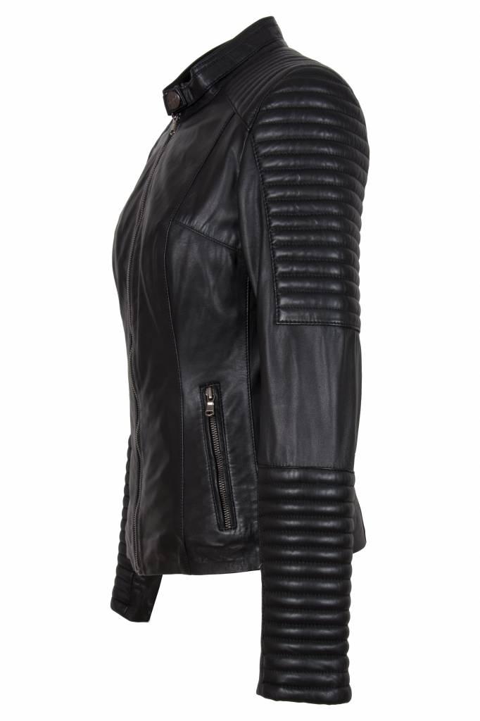 Dames leren jas lydie biker 1 zwart