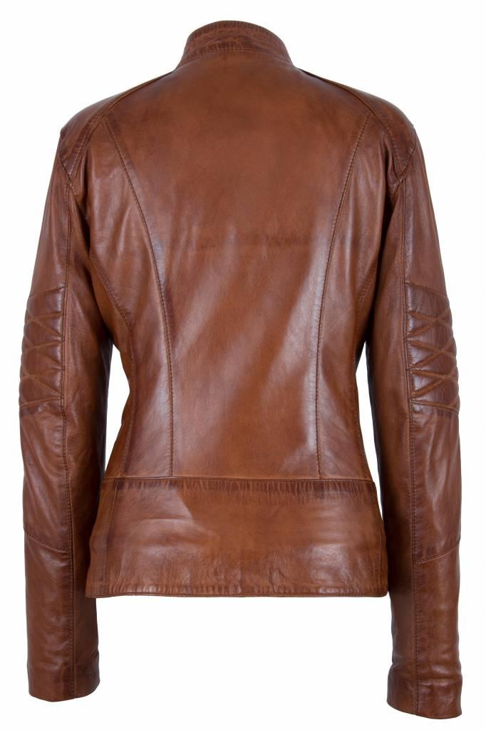 Carlo Sacchi Dames leren biker jacket T1 brandi