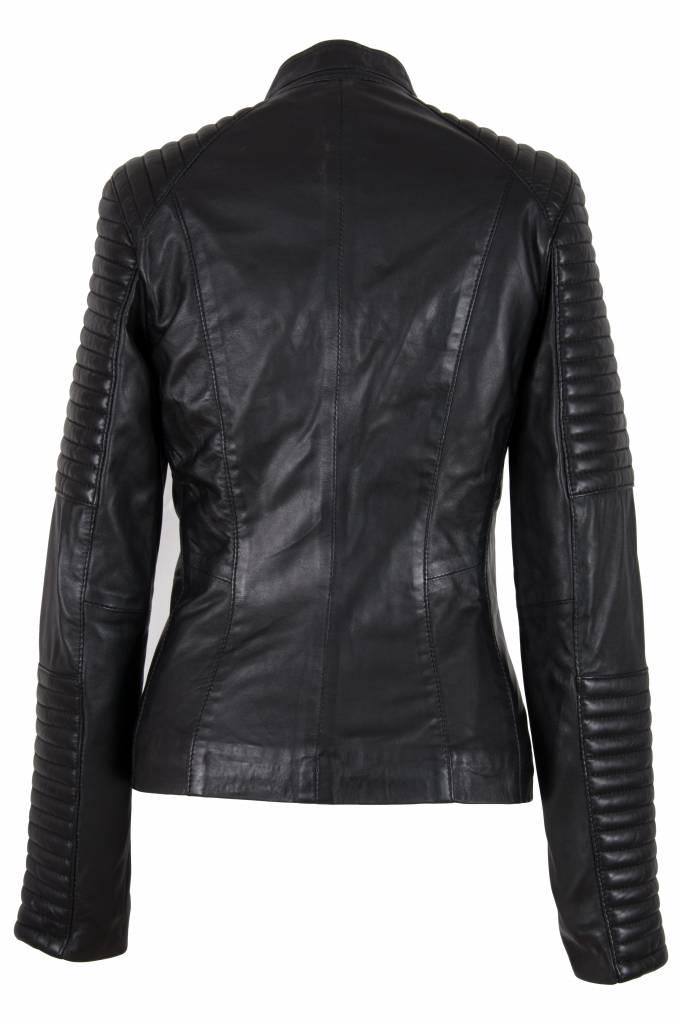 Carlo Sacchi Dames leren biker jacket lady zwart
