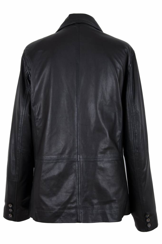 Carlo Sacchi Leren jassen heren blazer  zwart