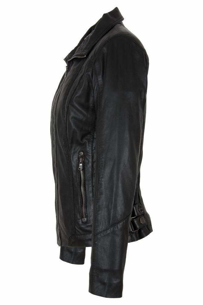 Carlo Sacchi Leren jas 998s zwart