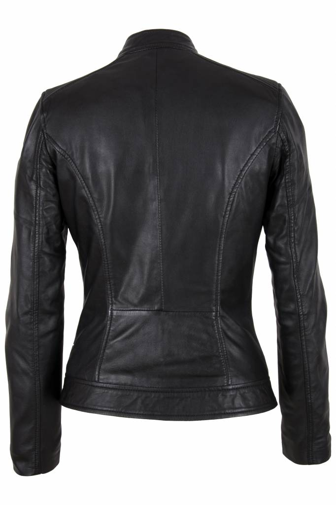 Carlo Sacchi Leren jasje dames zwart sonia nw