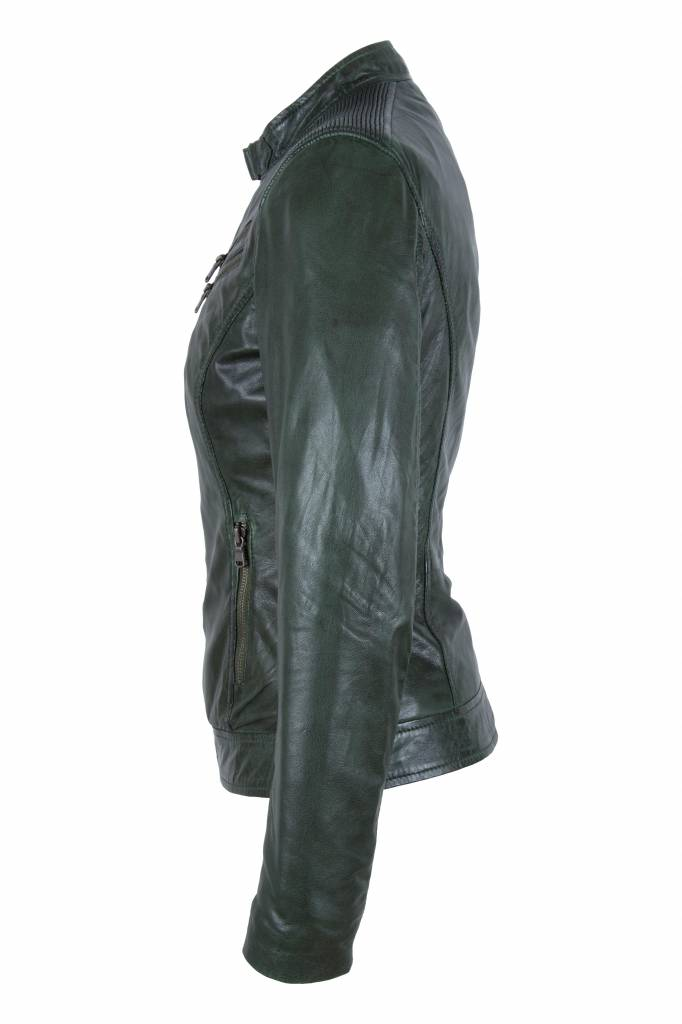 Carlo Sacchi Dames groen leren jasje sonia