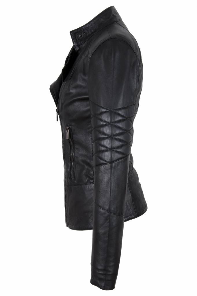 Carlo Sacchi Dames zwart leren jasje t1