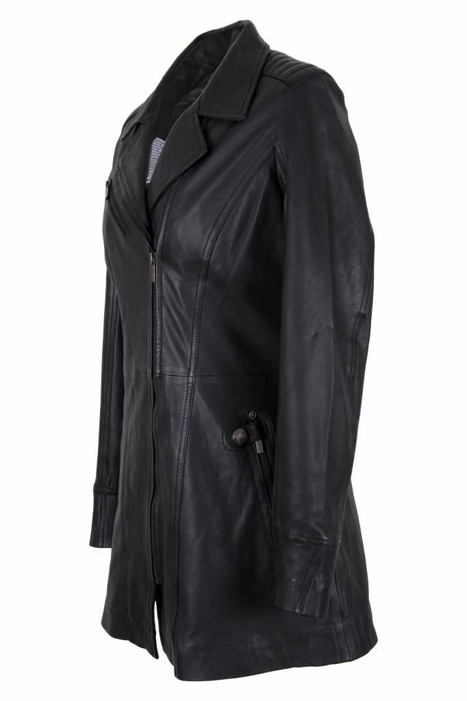 Carlo Sacchi Leren jassen dames sofia zwart