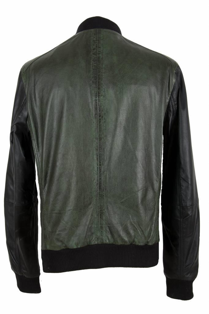 Carlo Sacchi Heren leren jas  groen zwart