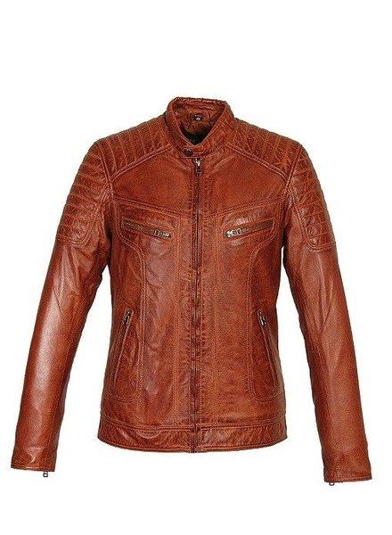 Carlo Sacchi Leren jasje heren Ryan bruin