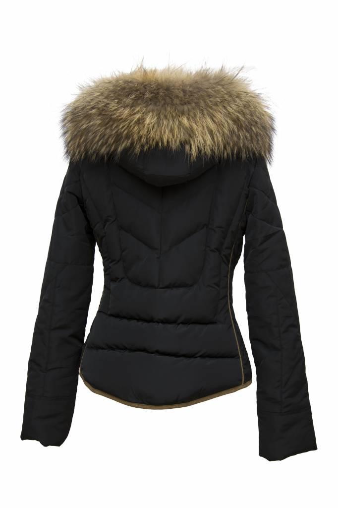 Attentif winterjassen dames met bont M3 zwart