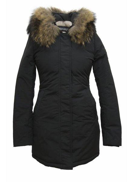 Carlo Sacchi Dames winter jas  met bontkraag CS V zwart