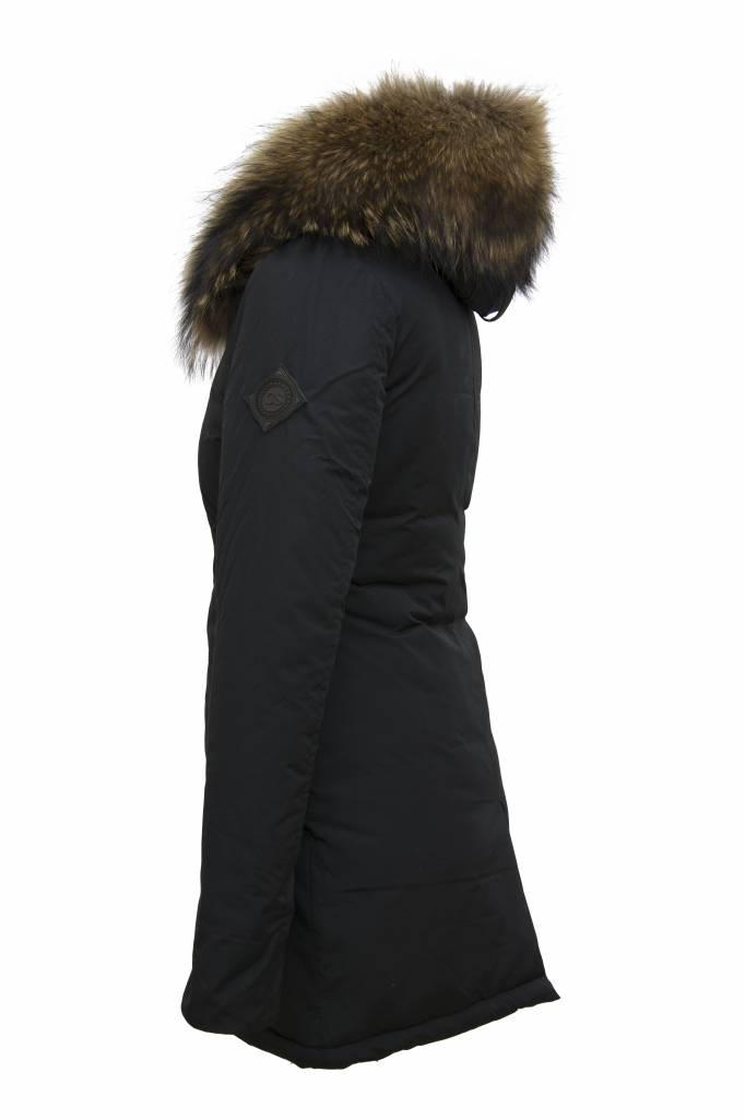 Carlo Sacchi Dames winterjasssen met bontkraag CS V zwart