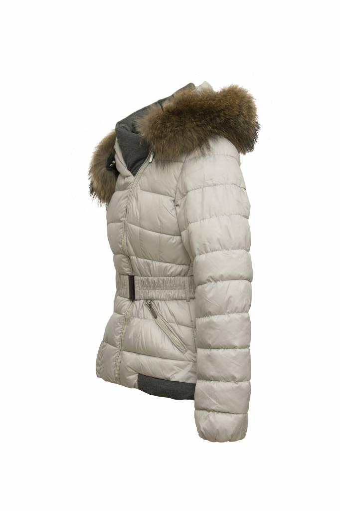 Adrexx Dames winterjas met bontkraag M2 grijs