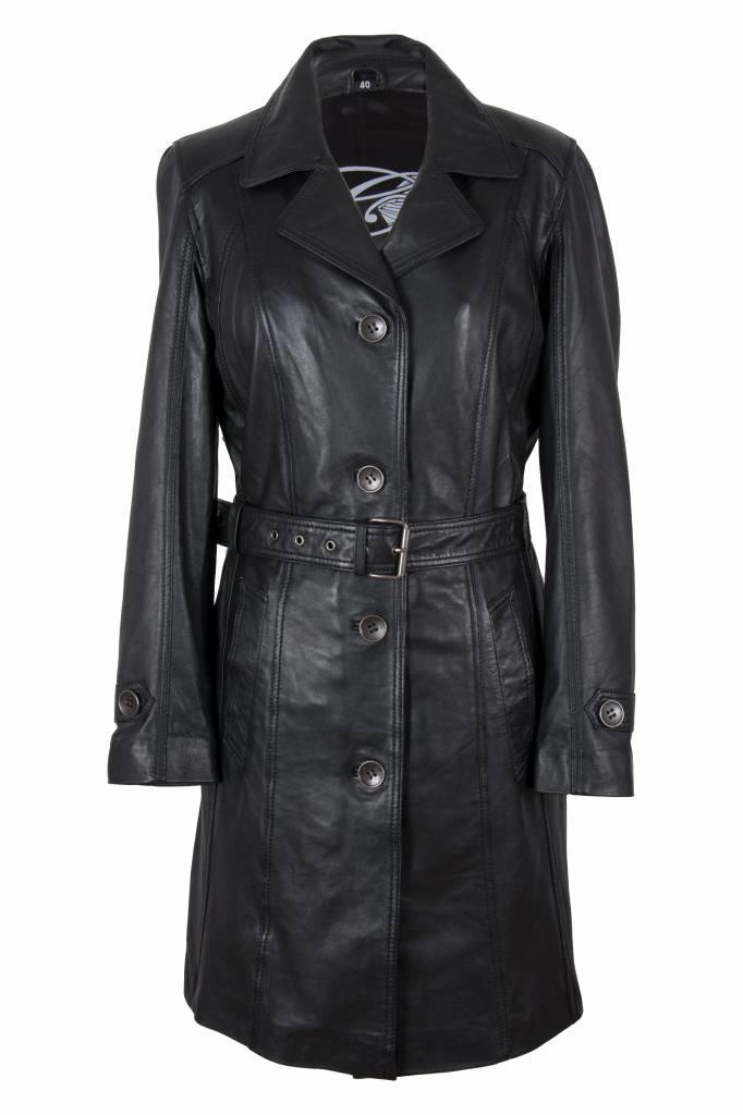 a3795d6bb4f Carlo Sacchi Dames leren jas trench coat zwart ...