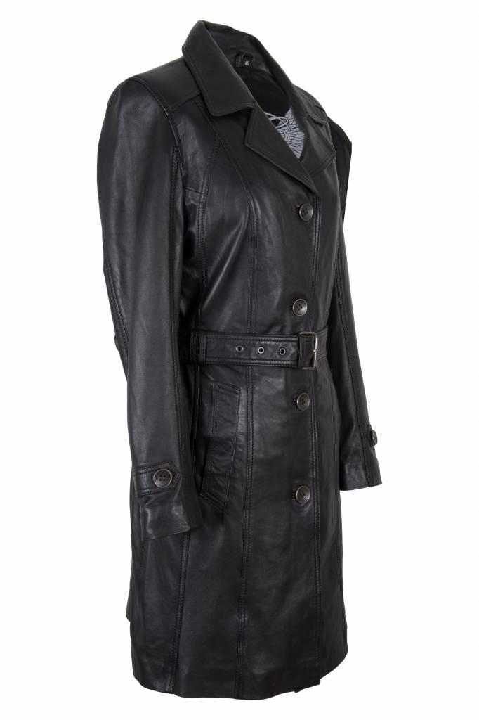 Carlo Sacchi Dames leren jas trench coat zwart