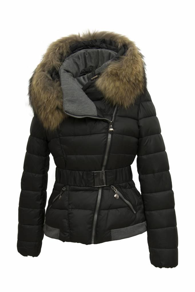 Adrexx Dames winterjas met bontkraag M2 zwart