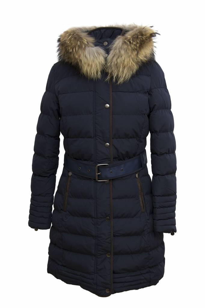 Attentif Dames winterjas met bontkraag M1 blauw