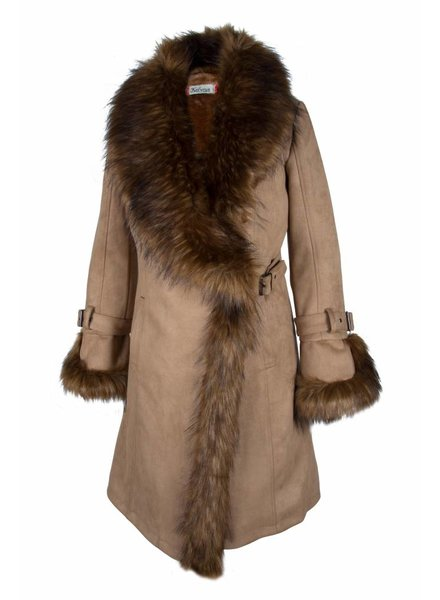 Dames winterjas lammy coat beige met bont