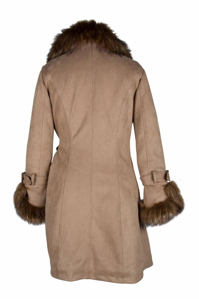 Kelyna Dames winterjas lammy coat beige met bont