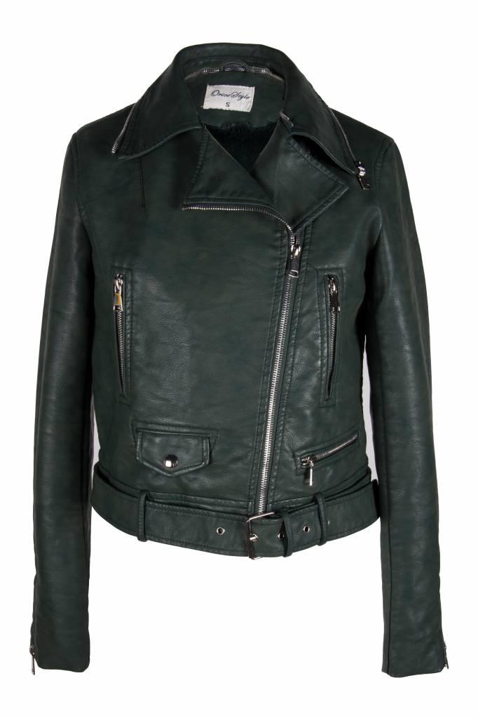 Imitatie dames biker  jas groen met bont