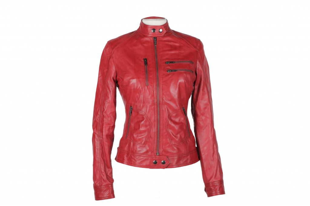 Leren Jas Dames Capuchon.Rood Dames Biker Jack Leather City