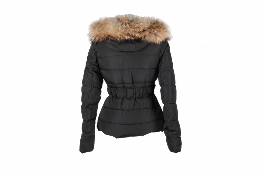 Adrexx Dames winterjas met Bontkraag Zwart L22
