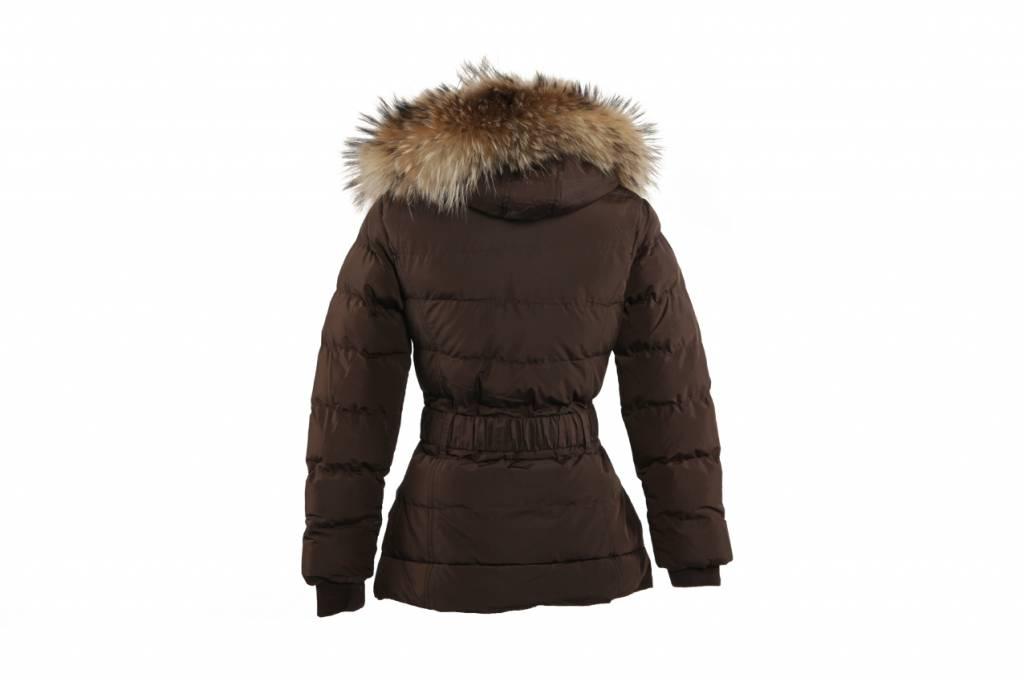 Adrexx Dames winterjas met Bontkraag Bruin LC2116