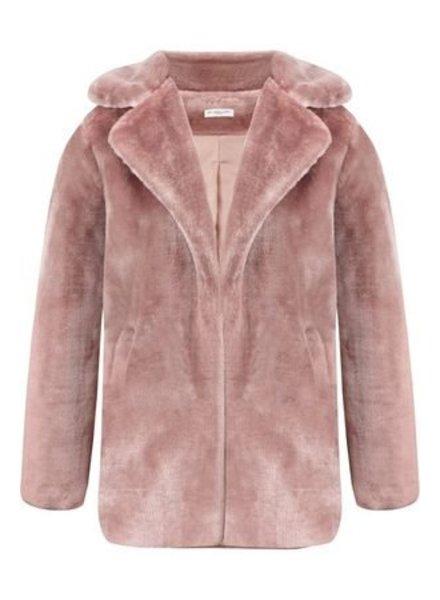 Dames jas pink- Faux Fur
