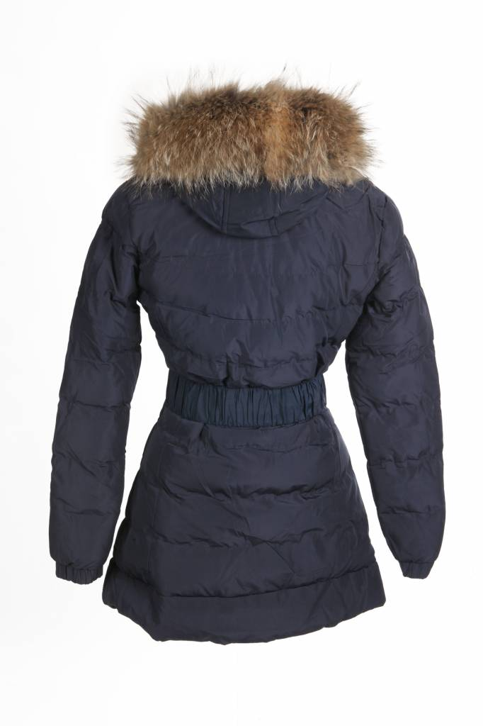 Adrexx Dames winterjas  met Bontkraag Blauw LC2111