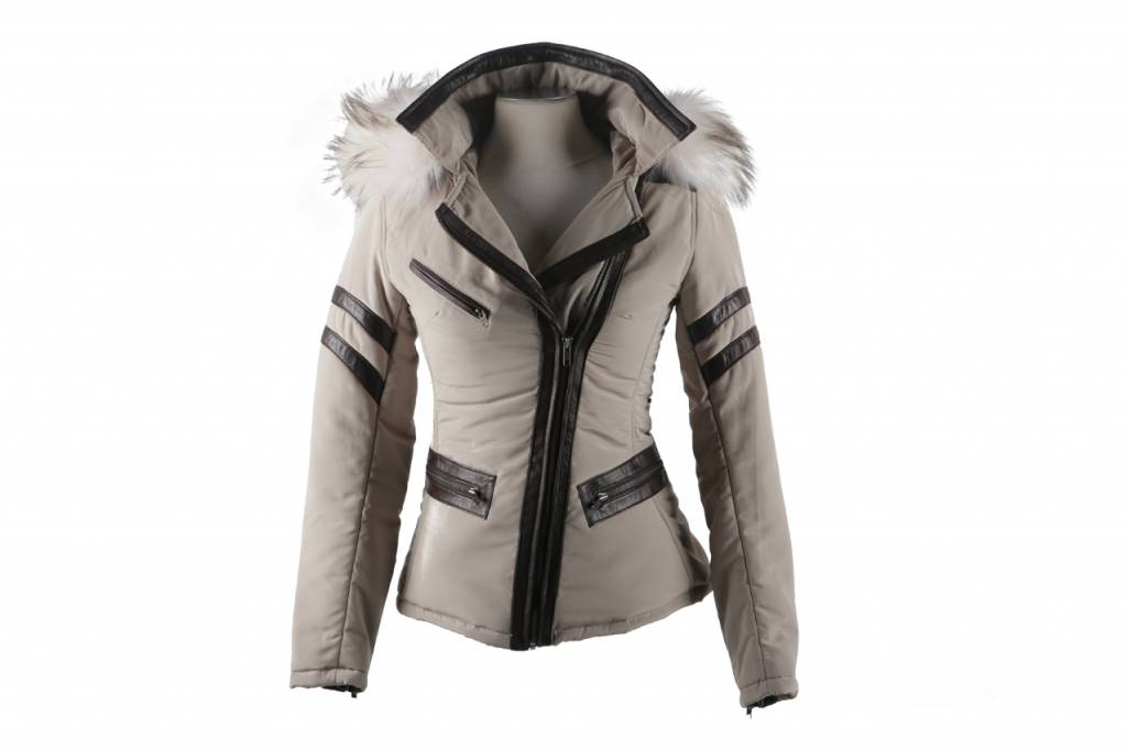Winterjas Kort Dames.Beige Kort Dames Jas Met Bont Leather City