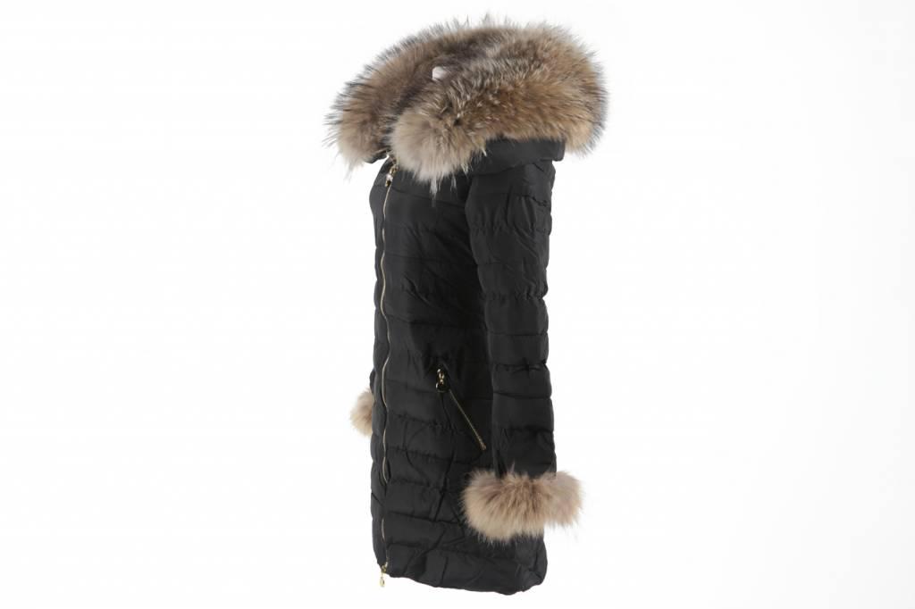 Adrexx Dames winterjas met Bontkraag LC109 Zwart
