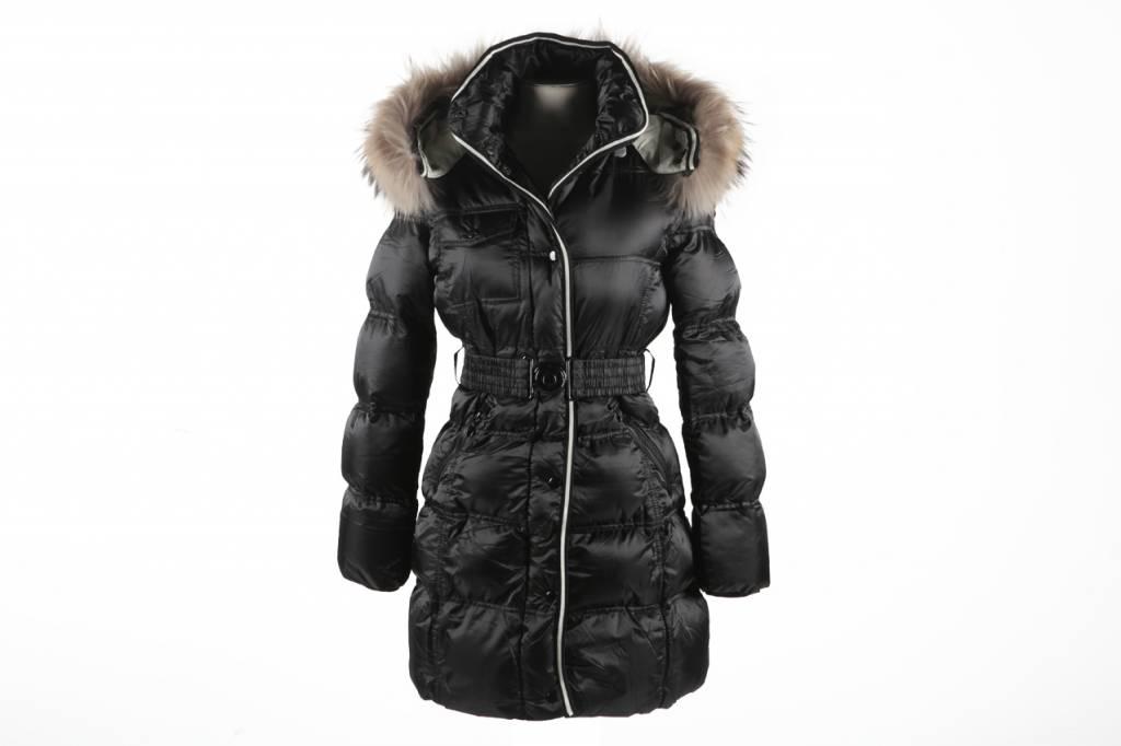Adrexx Dames winterjas met bontkraag Motogla zwart