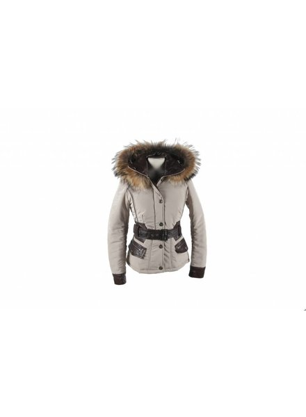 Milan Ferronetti Dames winterjas met bontkraag betty kort beige