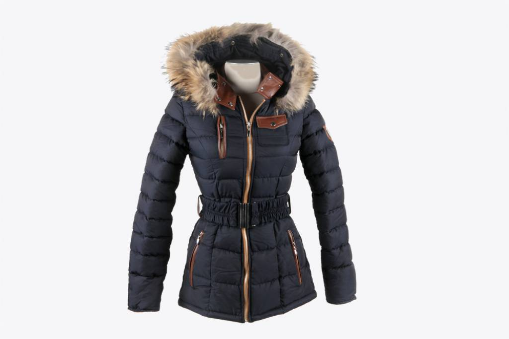 Winterjas Donkerblauw Dames.Bontjas Voor Dames Leather City