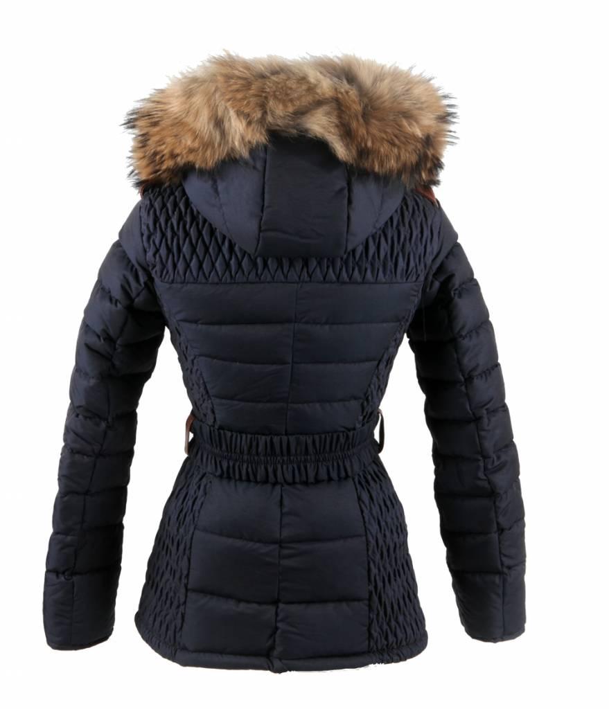 Milan Ferronetti Dames winterjas met Bontkraag Blauw REB