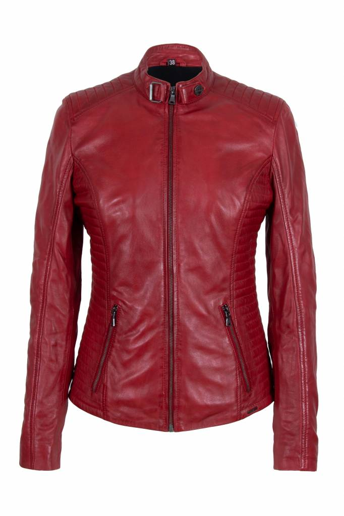 Dames leren jas rood NLB