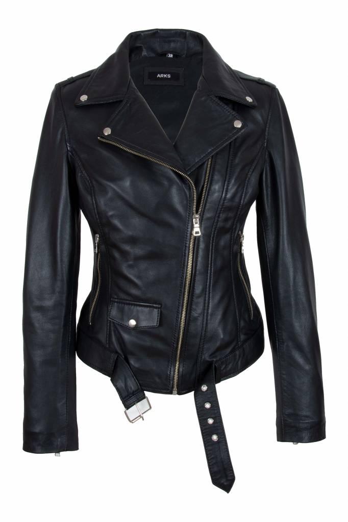 Dames leren jas zwart 9905