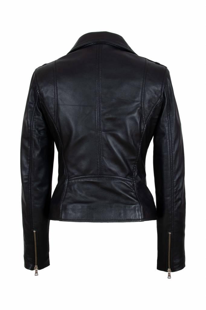 Carlo Sacchi Dames leren jas zwart 9905