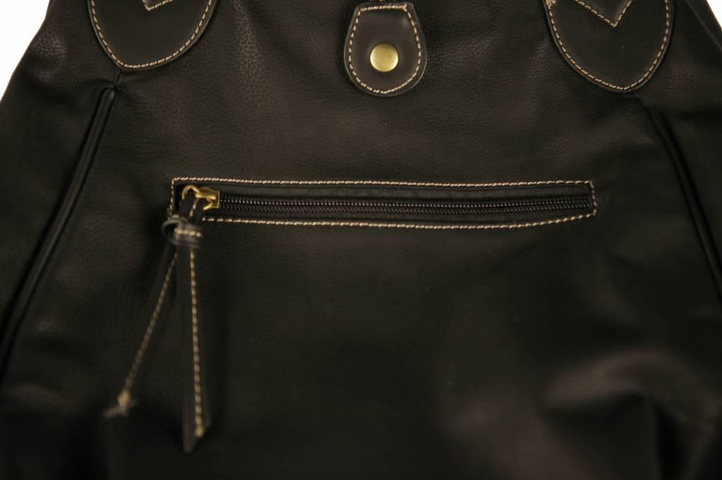 Dames knop tas zwart B06